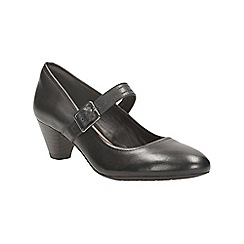 Clarks - Black leather 'Denny Date' mid block heel court shoes