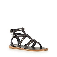 Faith - Black leather studded sandals