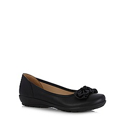 Hotter - Black leather bow applique slip-on shoes