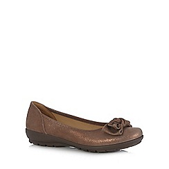 Hotter - Brown leather glitter bow applique slip-on shoes