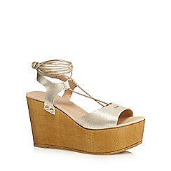 Faith - Gold 'Danny' lace-up wedge shoes
