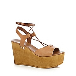 Faith - Tan 'Danny' lace-up wedge shoes