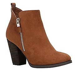 Call It Spring - Brown suedette 'Kokes' high block heel ankle boots