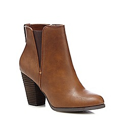 Call It Spring - Brown 'Pydia' high block heel ankle boots