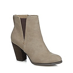 Call It Spring - Taupe 'Pydia' high block heel ankle boots