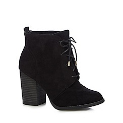 Call It Spring - Black lace up 'Afaeni' heel ankle boots