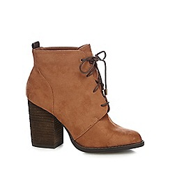 Call It Spring - Brown lace up 'Afaeni' heel ankle boots