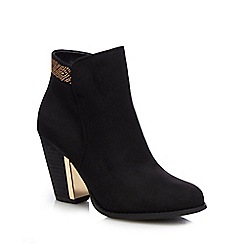 Call It Spring - Black 'Jeriradda' gold trim high heeled ankle boots