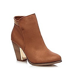 Call It Spring - Brown 'Jeriradda' gold trim high heeled ankle boots