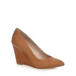 Call It Spring - Brown 'Woiria' high wedge court shoes