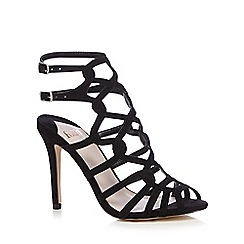Faith - Black suedette high stiletto heel ankle strap sandals