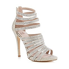 Faith - Silver 'Lola' stone embellished caged high sandals