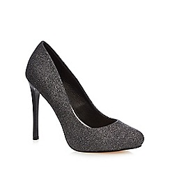 Faith - Dark grey glitter 'Candy' high stiletto heel court shoes