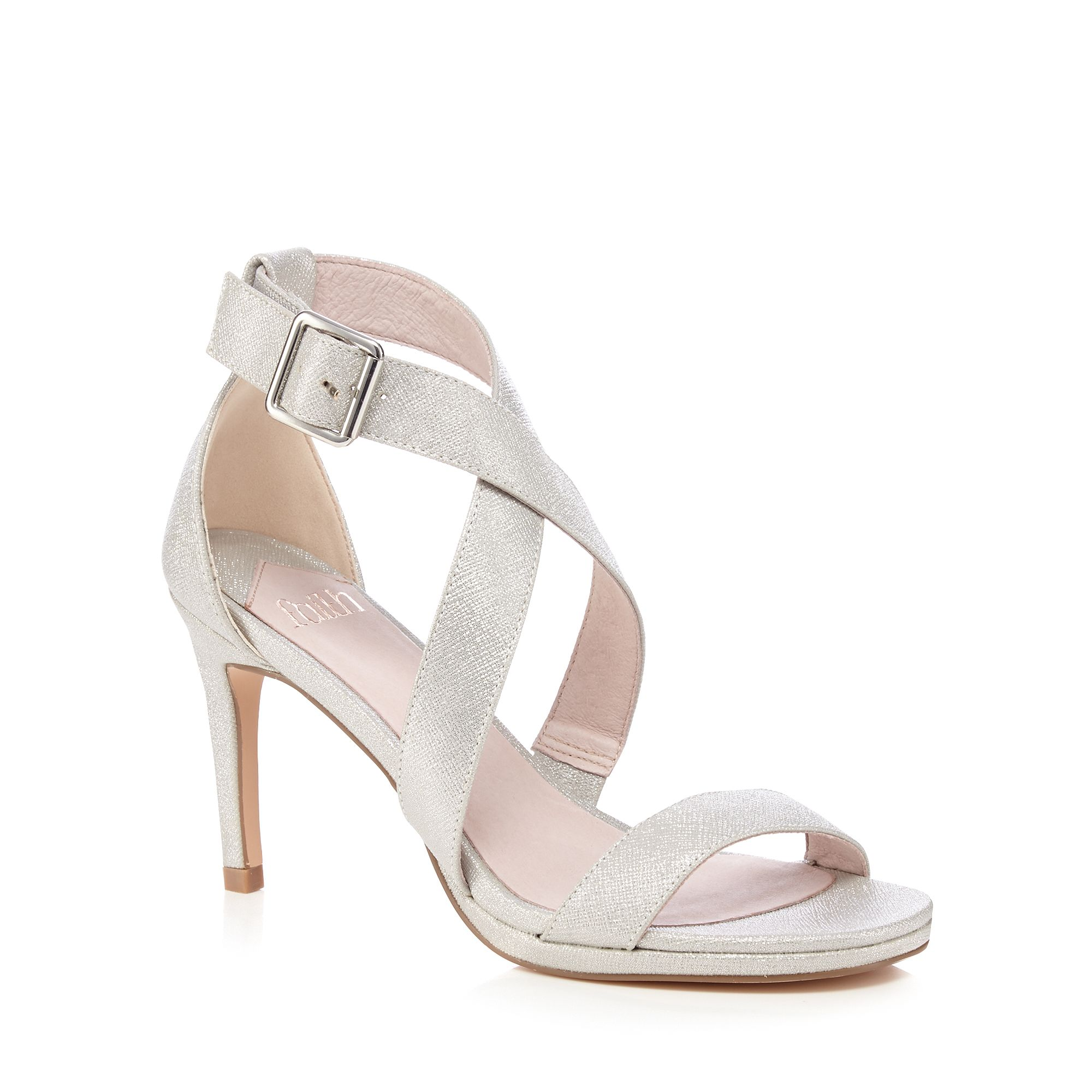 faith womens silver crossover sandals from