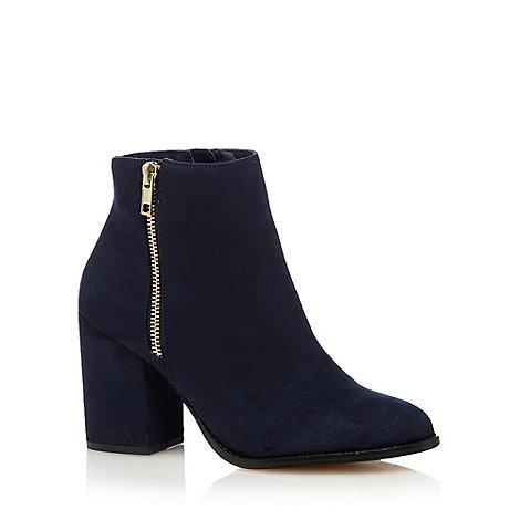Faith - Navy +Belinda+ high block heel ankle boots