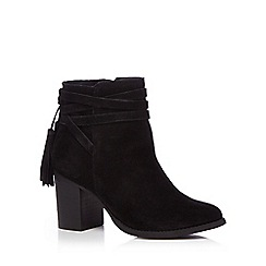 Faith - Black leather 'Blondie' high block heel ankle boots