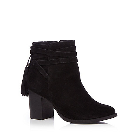 Faith - Black leather +Blondie+ high block heel ankle boots