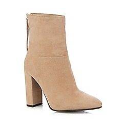 Faith - Beige 'Britney' high block heel ankle boots