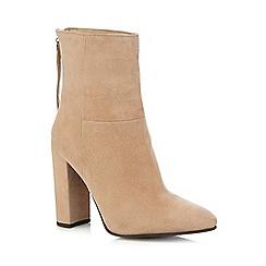 Faith - Beige 'Britney' high block heel boots