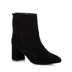 Faith - Black leather 'Bae' mid block heel ankle boots
