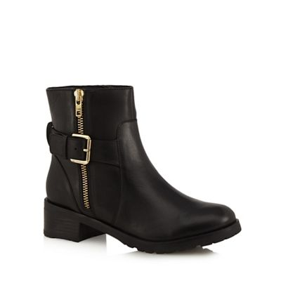 faith black leather betsy mid block heel ankle boots