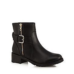 Faith - Black 'Betsy' zip and buckle ankle boots