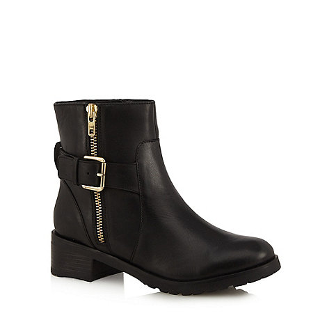 Faith - Black +Betsy+ zip and buckle ankle boots