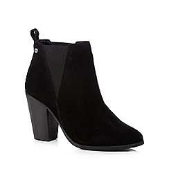 Faith - Black leather 'Benny' high block heel ankle boots