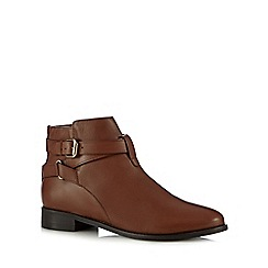 Faith - Tan leather 'Brogan' ankle boots