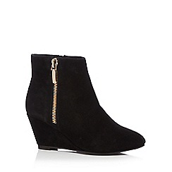 Faith - Black leather 'Bonnie' high wedge heel ankle boots