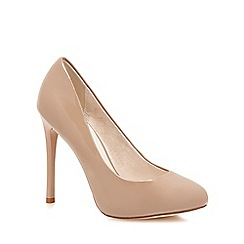 Faith - Natural patent 'Candy' high heel wide fit court shoes