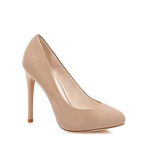 Faith - Natural patent +Candy+ high heel wide fit court shoes