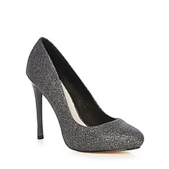 Faith - Dark grey glitter 'Candy' high heel wide fit court shoes