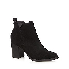 Faith - Black suede 'Blaize' high block heel ankle boots