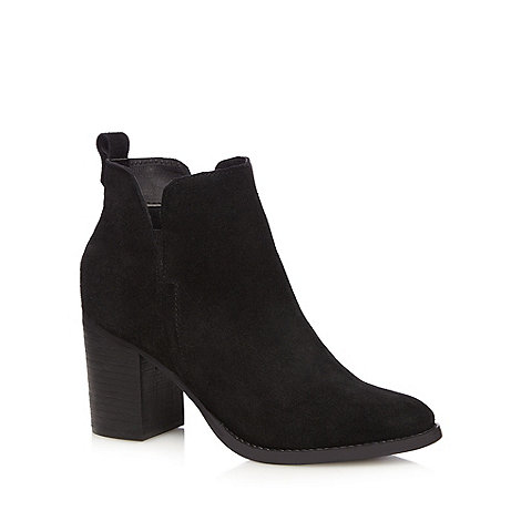 Faith - Black suede +Blaize+ high block heel ankle boots