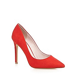 Faith - Red suedette high heel wide fit pointed shoes