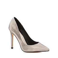 Faith - Silver metallic high heel wide fit pointed shoes