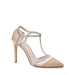 Faith - Taupe patent 'Cara' high stiletto heel pointed shoes