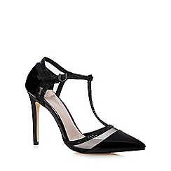 Faith - Black 'Cara' high T-bar court shoes