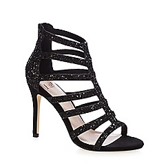 Faith - Black glitter 'Linda' high stiletto heel T-bar sandals