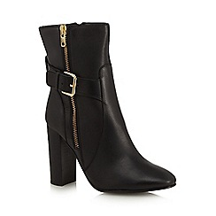 Faith - Black leather 'Beatrice' high block heel ankle boots