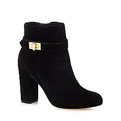Faith - Black suede 'Brenda' high block heel ankle boots