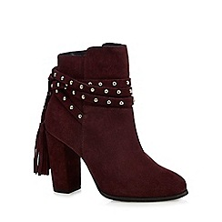 Faith - Dark red leather 'Bethany' high block heel ankle boots