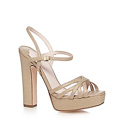 Faith - Gold 'Lolly' high platform heel ankle strap sandals