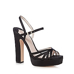 Faith - Black satin 'Lolly' high platform heel ankle strap sandals