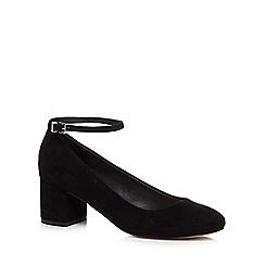 Faith - Black suedette 'Alexa' mid block heel ankle strap court shoes