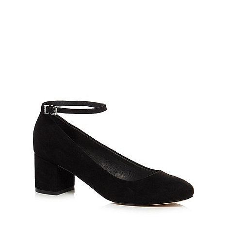 Faith - Black suedette +Alexa+ mid block heel ankle strap court shoes