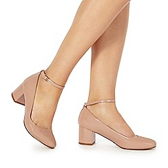 Faith - Natural 'Alexa' mid block heel court shoes