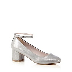 Faith - Silver 'Alexa' mid block heel ankle strap court shoes