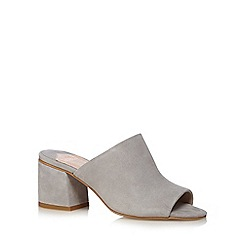 Faith - Grey 'Delia' mid heel mule shoes